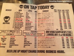 BrewDog Roppongi  BEER Menu